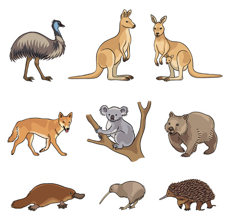 Set of stylized vector Australian animals. EPS8