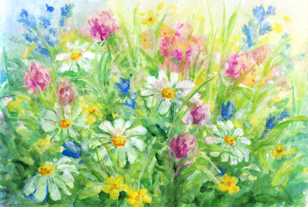 Wild flowers - watercolor and gouache background painting.