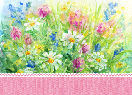 Floral background - wild flowers watercolor painting and place for text with pink fabric  texture and white lace border.
