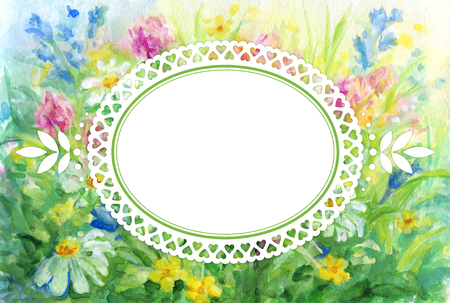 Floral background - wild flowers watercolor painting and lace vignette for text.