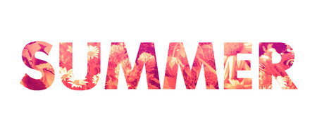 Summer word - bold type filled with natural photo textures