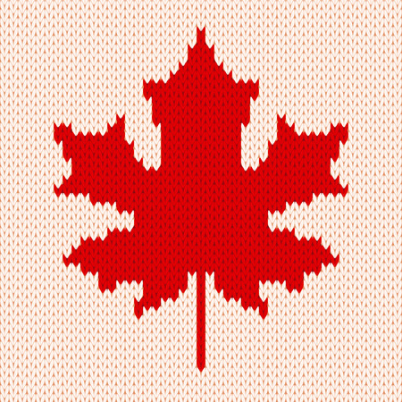 Seamless knitting pattern with red maple leaf on white background.