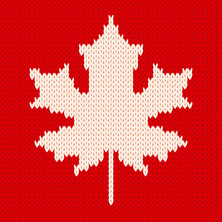 Seamless knitting pattern with white maple leaf on red background. Çizim