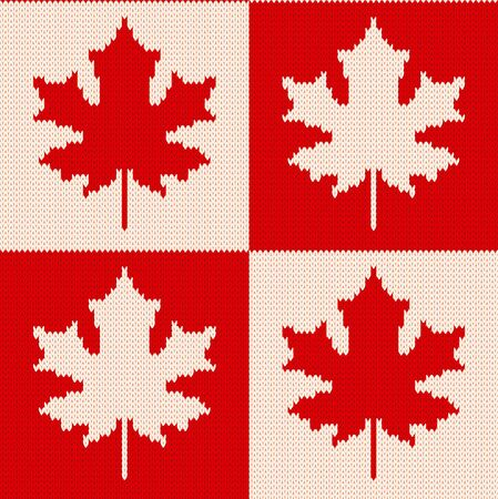 Seamless knitting pattern with red and white maple leaves on checkered background.