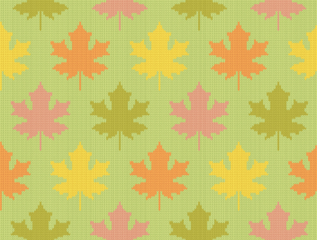 Seamless knitting pattern with fall maple leaves of different colors on pastel green background.
