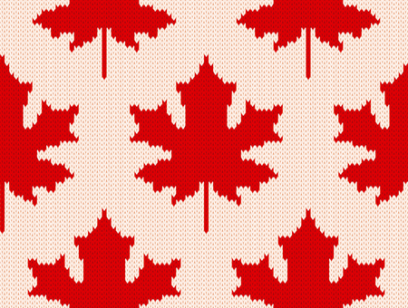Seamless knitting pattern with red maple leaves on white background.