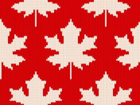 Seamless knitting pattern with white maple leaves on red background. Çizim