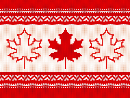 Seamless knitting pattern with maple leaves and ornamental stripes in red and white colors.