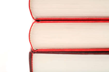 learning series: Three books against white Background. Close-up Stock Photo