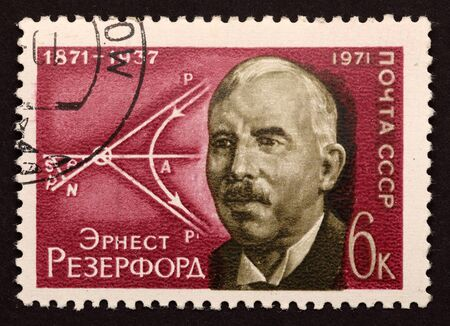 stamp collecting: USSR postage stamp \Ernest Rutherford. Scheme of diffusion of alpha particles (Rutherford experience)1971 year. Ernest Rutherford, 1st Baron Rutherford of Nelson, (1871 – 1937) was a New Zealand-born British chemist and physicist who became known as  Editorial
