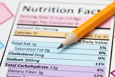 no cholesterol: Nutrition facts. Close-up.