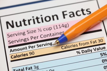 unhealthy eating: Nutrition facts. Close-up.