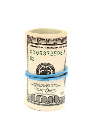 one hundred dollar bill: Roll of One Hundred Dollar Bill against white background. Close-up.