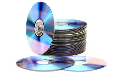 bluray: DVD or disc heap against white background.