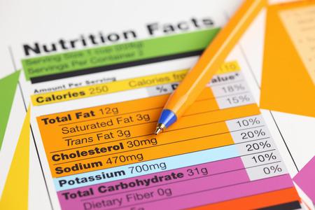 nutrición: Hechos de la nutrición y bolígrafo. Acercamiento. Foto de archivo