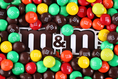 Tambov, Russian Federation - August 26, 2012 M&Ms candy on M&Ms brand. M&Ms  produced by Mars, Incorporated.