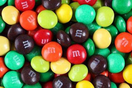Tambov, Russian Federation - August 26, 2012 M&Ms candy. M&Ms produced by Mars, Incorporated. Editorial