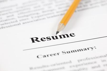 Resume with pensil. Standard-Bild