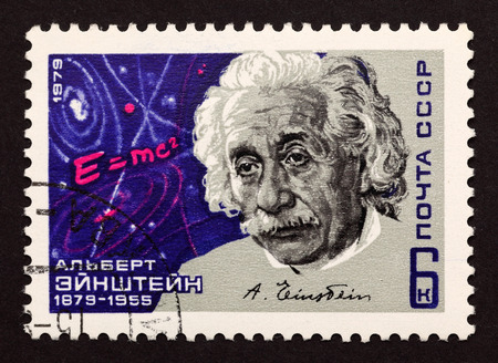 stamp collecting: USSR postage stamp Albert Einstein. 1979 year. Albert Einstein was a German-born theoretical physicist who developed the theory of general relativity, effecting a revolution in physics. Editorial