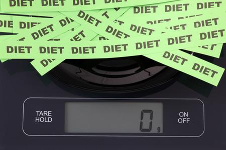 black gram: Words Diet in a black plate on digital scale displaying 0 gram. Stock Photo