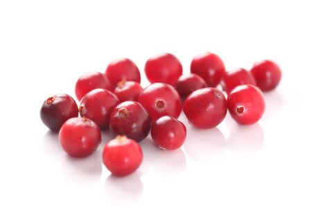 Cranberry on white background. Close-up.