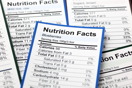 fact: Lots of Nutrition facts. Close-up.