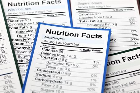 nutrici�n: Un mont�n de informaci�n nutricional. Acercamiento.