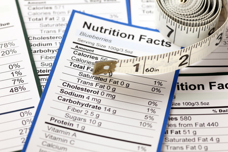 food label: Lots of Nutrition facts with tape measure. Close-up.