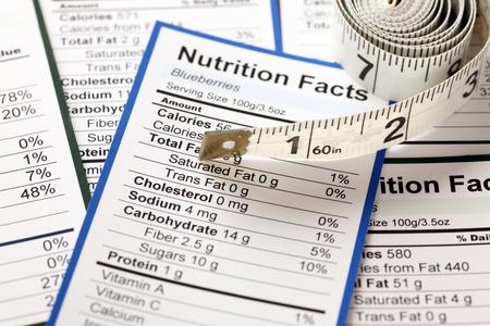 etiqueta: Un montón de Hechos de la nutrición con cinta métrica. Acercamiento.