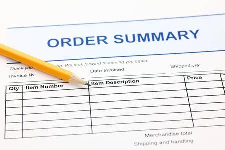 summary: Order summary form and pencil