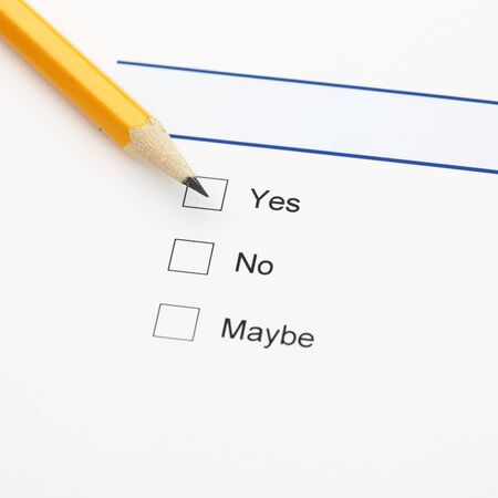 maybe: Survey: yes, no, maybe, and pencil