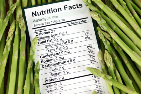 nutrition label: Nutrition facts of raw asparagus with asparagus