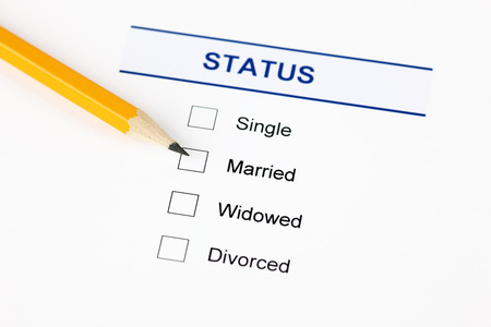 Marital status form with checkbox and pensil