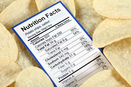 nutrition label: Nutrition facts of salted potato chips with potato chips  Stock Photo