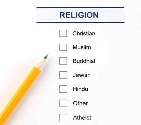 questionnaire: Religion questionnaire with pencil. Stock Photo