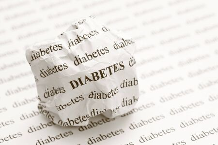 Crumpled paper ball with words diabetes