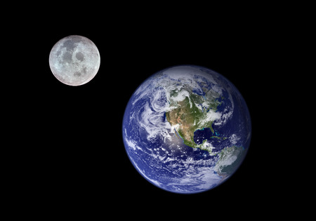 Earth and Moon. Image of the Moon and the Earth provided by NASA. Reklamní fotografie