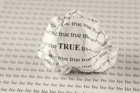 dishonesty: Crumpled paper ball with words