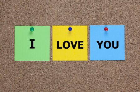 i pad: Three blanks paper notes on cork board with words I love you.