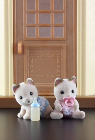 animal figurines: Tambov, Russian Federation - October 04, 2013 Sylvanian family kittens toy figures sitting in front of the door of their house. Studio shot. Sylvanian Families is a line of collectible anthropomorphic animal figurines made of flocked plastic. In Canada  Editorial