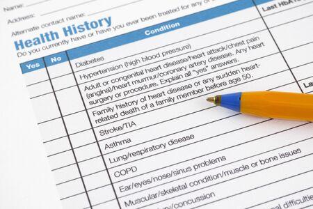 Gezondheid Geschiedenis vorm met Pallpoint pen.