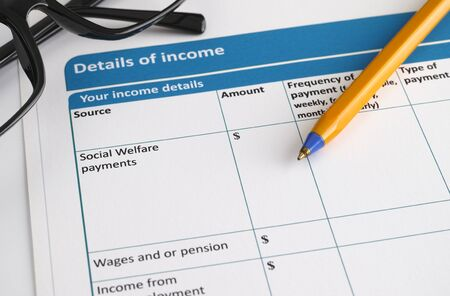 questionary: Details of income form with glasses and ballpoint pen.  Stock Photo