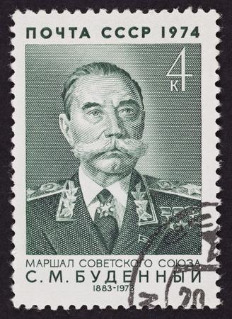 cavalryman: URSS sello de correos Semyon Budyonny. 1974 a�os. Fondo negro. Semi�n Mij�ilovich Budyonny fue un Mariscal de la Uni�n Sovi�tica, soldado de caballer�a sovi�tica, comandante militar, pol�tico y un estrecho aliado del l�der sovi�tico Iosif Stalin.