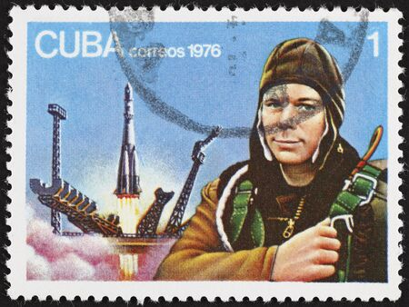 vostok: Cuba correos postage stamp Yuri Gagarin. 1976 year.