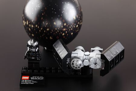 Tambov, Russian Federation - June 02, 2013 LEGO Star wars set TIE Bomber & Asteroid Field on black background. Item 75008. Ages 6-12. Studio shot. Lego manufactured by the Lego Group (Billund, Denmark). Lego Star Wars is a Lego theme that incorporates the