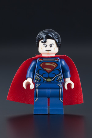 Tambov, Russian Federation - January 13, 2014 Lego Superman minifigure on black background. Studio shot. LEGO is a popular line of construction toys manufactured by the Lego Group (Billund, Denmark). Editorial