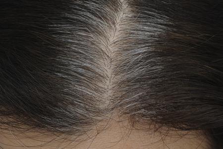 Going grijs. Jonge vrouw toont haar grijze haar wortels.