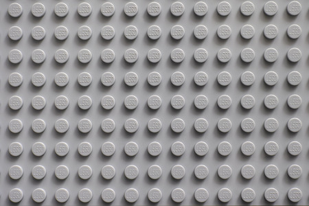 Tambov, Russian Federation - February 20, 2015 Lego gray baseplate. Lego toys manufactured by the Lego Group (Billund, Denmark). Editorial