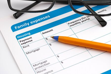 questionary: Family expenses application form with glasses and ballpoint pen. Stock Photo