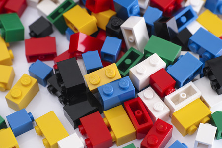 yellow lego block: Tambov, Russian Federation - February 19, 2015 Colorful Lego Blocks on a white background. Studio shot.